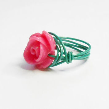 Fuschia Flower Turquoise Green Handmade Wire Wrapped Ring Sizes 1-14