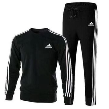 ADIDAS autumn and winter models round neck loose casual sports running clothes two-piece black