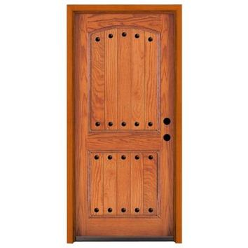 Steves & Sons Rustic 2 Panel Stained Oak Wood Entry Door-02250-HO-MJ-4LH at The Home Depot