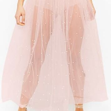 Sheer Beaded Mesh Tulle Maxi Skirt