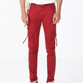 D-Ring Cargo Pants in Maroon