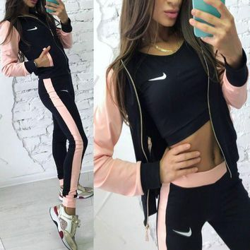 DCCKNQ2 Nike Fashion Sport Cardigan Jacket Coat Pants Sweatpants Set Two-Piece Sportswear-2