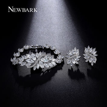 NEWBARK Lush Leaves Design Bracelet With Earrings Set Marquise Cut Cubic Zircon Jewelry Sets Best For Wedding Dress