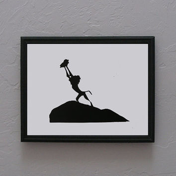 Lion King   Rafiki and Simba Hand cut black silhouette papercut