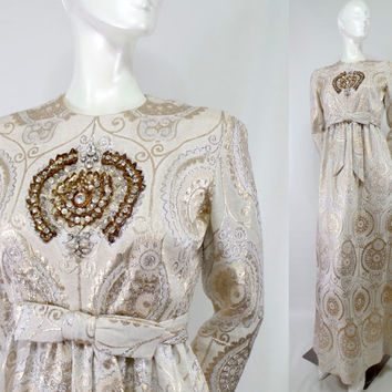 Vintage Brocade Beaded Ivory dress Kiki Hart High waist Formal Gown wedding Tie Waist  Paisley Medium 1970s