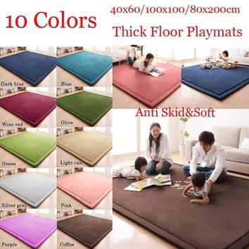 10 Colors Thick Floor Rugs Kids Playing Mat Christmas Gift Living Room Bedroom Tatami 3 Size