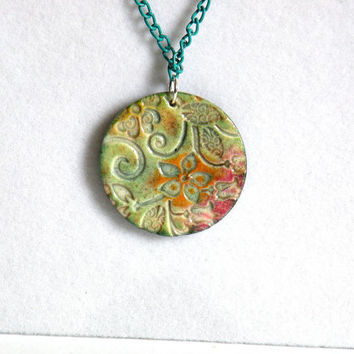 Flower Necklace from Polymer Clay made with Faux Ceramics Technique