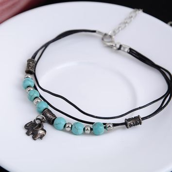 Anklets, Lady Sliver Plated Turquoise Beads Elephant Bracelet For Ankle