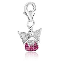 Sterling Silver Multi Tone Crystal Accented Angel Charm P150-84416