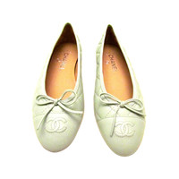 New Chanel Ballerina Flats - Sea Foam Mint Green - Lambskin - Size 38