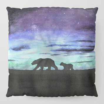 Aurora borealis and polar bears (black version) Floor Pillow by Savousepate