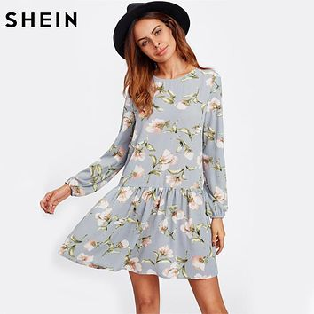 SHEIN Allover Flower Print Drop Waist A Line Dress Grey Long Sleeve Round Neck Cut Out Back Floral Cute Dresses