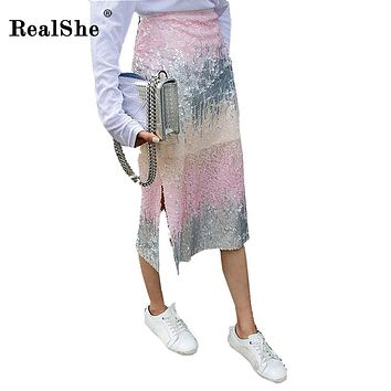 RealShe 2018 Fashion Autumn Woman Skirt Lady Sequins Slit Gradient Pencil Skirts Women Plus Size Sexy Bodycon Midi Skirt