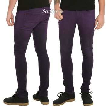 "Licensed cool RUDE Purple Ombre Super Skinny Jeans 28"" Waist 32"" Inseam Joker Costume Pants"