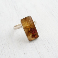 Vintage Sterling Silver Yellow, Brown Dried Flower Ring - Retro Adjustable Statement Jewelry / Floral Bouquet in Rectangular Lucite