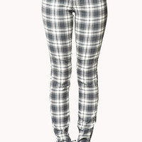 FOREVER 21 Grunge Plaid Skinny Pants Black/Cream