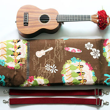 Soprano ukulele case / hula girl blown with ribbon lei / ukulele soft case / hawaiian fabric / tropical / surfboard / instrument case