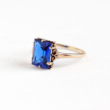 Vintage 10k Rosy Yellow Gold Created Dark Blue Spinel Ring - 1940s Size 7 3/4 Electric Cobalt Stone September Birthstone Fine Jewelry