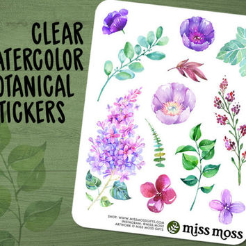 Clear Watercolor Botanical Flower Floral Planner Stickers #1 - Erin Condren, Happy Planner, Kikki K, Filofax, Decorative