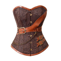 Retro Steampunk Lace up Boned Corset Brown Leather Overbust Bustier Gothic Corsets And Bustiers Halloween Jacket
