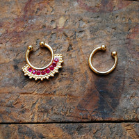Tribal Red Faux Septum Piercing , Gold Clip On Septum Ring