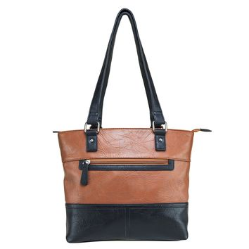 Tote Bag Large Center Zippered Compartments - Brown with Black