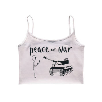 Peace not War alien yoga crop top