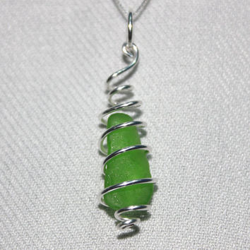 Green Swirl Cage Sea Glass Necklace