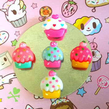 Kawaii CUPCAKE Mini MAGNETS Set of 5 Cute Cup Cake Yummy Sweets Desserts Locker Fridge Magnets Cakes Bakery Baker Chef BFF Birthday Gift Her