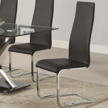 Coaster Coaster Modern Dining Black Faux Leather Side Chair - Set of 4