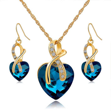 Love Crystal Jewelry Set in Four Colors