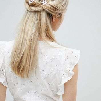 ASOS DESIGN Pastel Flower Station Back Hair Clip at asos.com