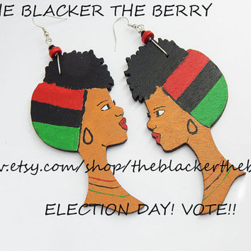 Black Art Earrings African American Jewelry Natural Hair Ethnic Hand Painted RBG Red Black Green Wooden Black Woman Afrocentric Black Owned