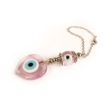 Car Mirror Hanging, Car Decoration, Pink Car Hanging Ornament, Car Charm Dangler, Pink Heart Glass Eye Charm