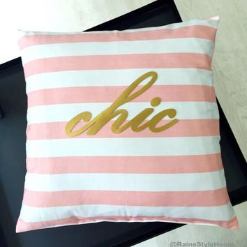 Hand Cut Gold Chic Wording Decorative Pink And White Stripes Pillow Cover. 17inch Girls Room Cushion Cover. New Home Gift. Girls Room Decor