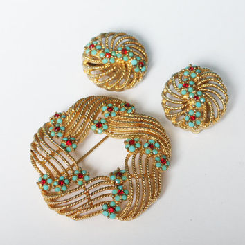 Lisner Turquoise and Red Beads Vintage Set Swirled Design Brooch Earrings