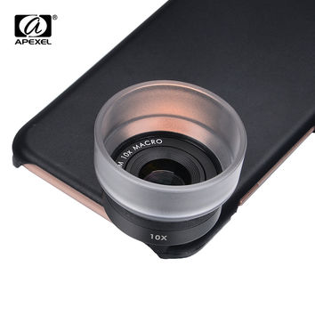 APEXEL Optic Lens 25mm Super Macro Lens 10x Mobile Photography Macro Lens with Back Case Phone Lens for iPhone 7 6 6s Plus