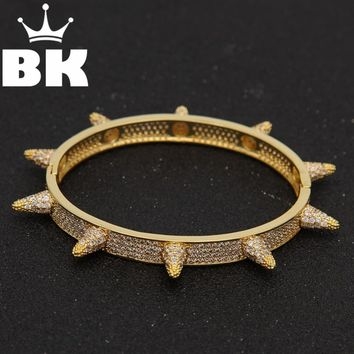 Fashion Hip Hop Jewelry Barbed Wire Gold Color Cuff  Bangle Copper Zircon Twist Thorns Bracelets for Men & Women Jewelry