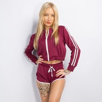Women's Fashion Long Sleeve Hoodies Shorts Set [11843100815]