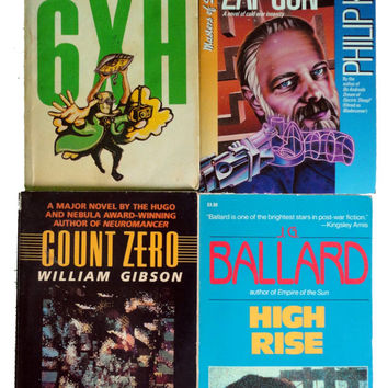 vintage book lot PHILIiP K DiCK WiLLiAM GiBSON RoBERT HEINLEiN JG BaLLARD cyberpunk collection