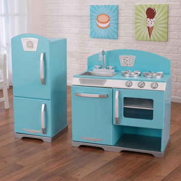 KidKraft Blue Retro Kitchen and Refrigerator - 53286