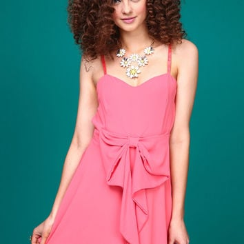 Coral Bow Sash Dress