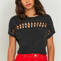 Light Before Dark Short Sleeve Macrame Crop Top - Urban Outfitters