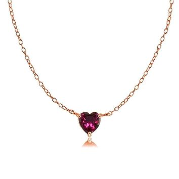 Dainty Created Ruby Small Heart Choker Necklace in Rose Gold Plated 925 Silver