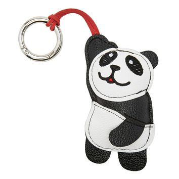 Faux Leather Panda Bear Keychain