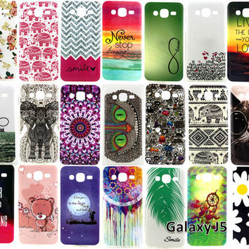For Samsung Galaxy J5 J500 SM-J500F Covers Flowers Elephant Owl Soft TUP Mobile Phone Cases Protective Back Cover High Quality