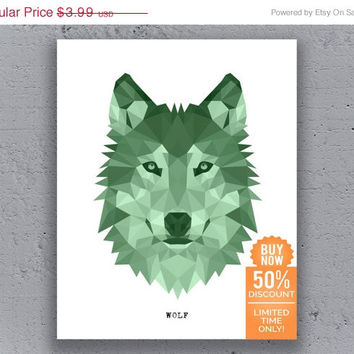 Wolf Printable Poster Geometric Typography Print Green Wildlife Polygon Animal Art Retro Art Print Instant Download Digital Print