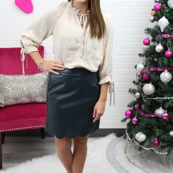 Lexy Green Leather Skirt