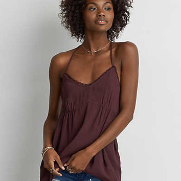 AEO Ruched Swing Tank , Black