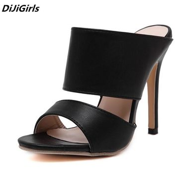 2018 Newest HOT women open toe High heels pumps black roman Gladiator mules shoes womens summer thin heel sandals women slippers
